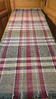 Rag Rug Vintage European Hand-Woven Carpet Rug  12' x 26''  #6374