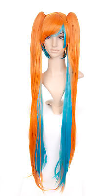 Orange and Aqua Anime Cosplay Costume Wig with Long - Costumes With Pigtails
