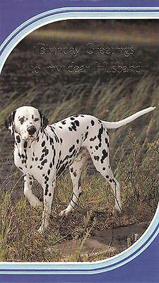 Happy Birthday Husband Vintage 1980's Dalmation Dog Greeting Card