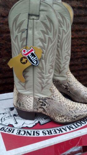 vintage Justin (Genuine Python) cowboy boots NOS WOW