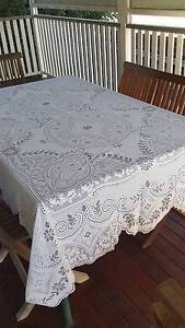 White lace tablecloth for 6 seater dining table Albion Brisbane North East Preview