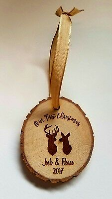 Personalized Wood Ornament Our First Christmas Buck Doe Deer Names & Year