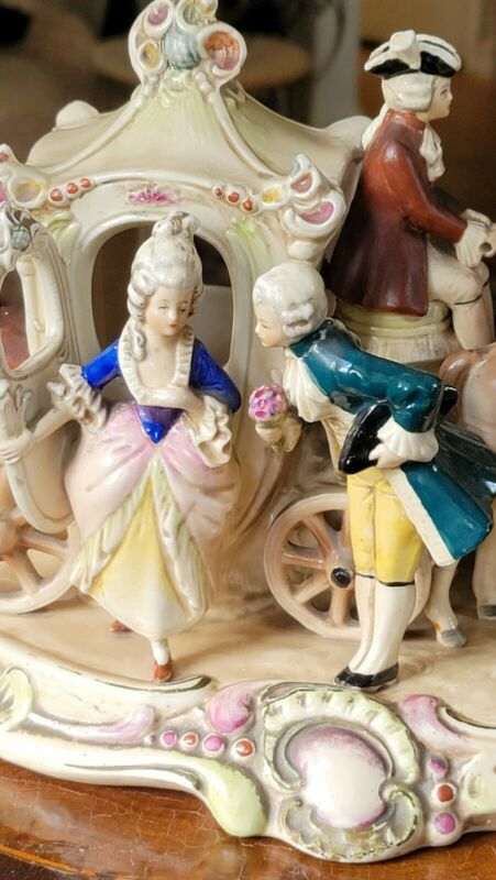 GRAFENTHAL Large Porcelain Horse Carriage Germany 19436 Antique Couple Courting