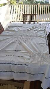 White Indian cotton tablecloth for 6 seater dining table Albion Brisbane North East Preview