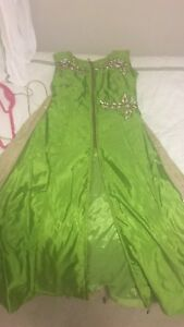 Beautiful bright green Indian Lengha with long blouse
