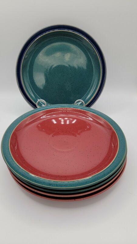 Denby England Harlequin Set Of 5 Dinner Plates