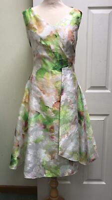 Ella Boo Dress White Green Silky A Line Gown Races Size 8 Prom Party BNWT £240
