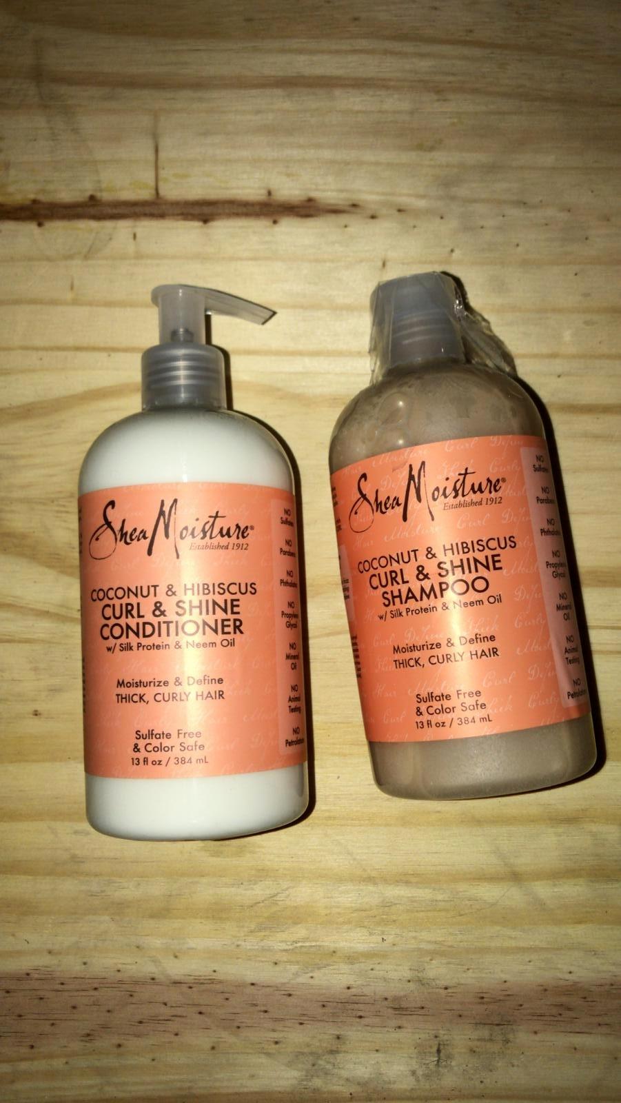 Shea Moisture Coconut & Hibiscus Curl & Shine Shampoo and Co