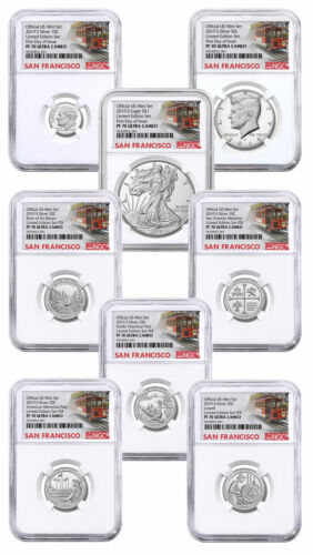 8 Coin 2019S US Limited Edition Silver NGC PF70 UC FDI Trolley PRESALE SKU59516