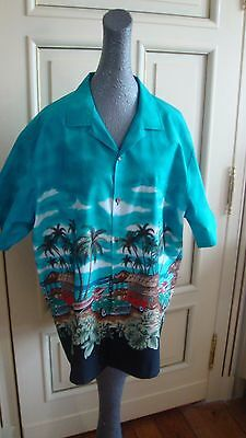 True vintage Jade Fashion Hawaiian 1950's cars ,surf ,palm trees shirt - size XL