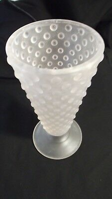 Vintage Depression Glass Frosted Pale Pink Hobnail Fluted Footed Vase