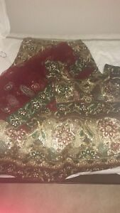 Beautiful red and green colour Lengha for sale