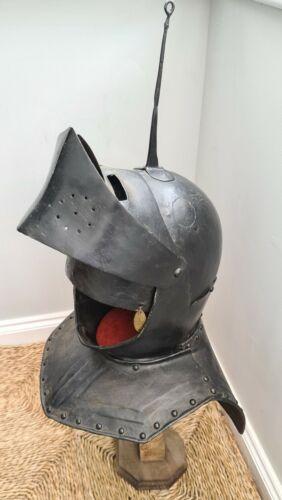 Fantastic Scarce 17thC Armour English Funerary Close Helmet Ex Higgins Museum