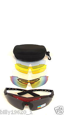 ProRSport Clay pigeon safety shoot Glasses Sunglasses 5 Lens prescription lens R
