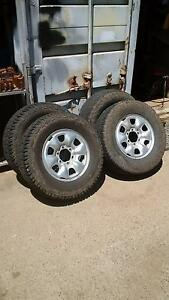 """Hilux 16"""" 4WD steel rims, 2 as-new tyres Cardiff Lake Macquarie Area Preview"""
