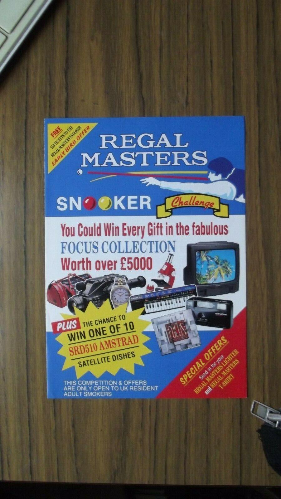 Regal Masters Snooker 1993 Snooker Challenge Advert Leaflet