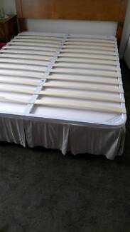 Queen size metal and sprung timber bed frame