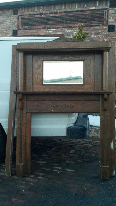 Oak Fire place mantle columns beveled mirror oval trim