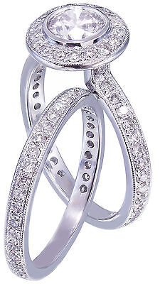 GIA H-VS2 18K White Gold Round Cut Diamond Engagement Ring and Band Bezel 1.55ct 8