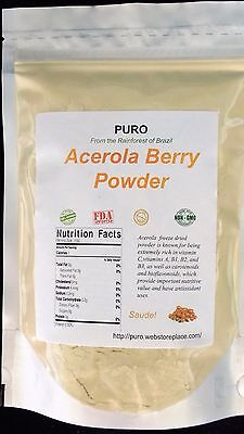 Acerola Cherry 8oz SUPERFOOD HIGH VITAMIN C Freeze Dried Powder PURO BRAZILIAN Acerola Cherry Vitamin C