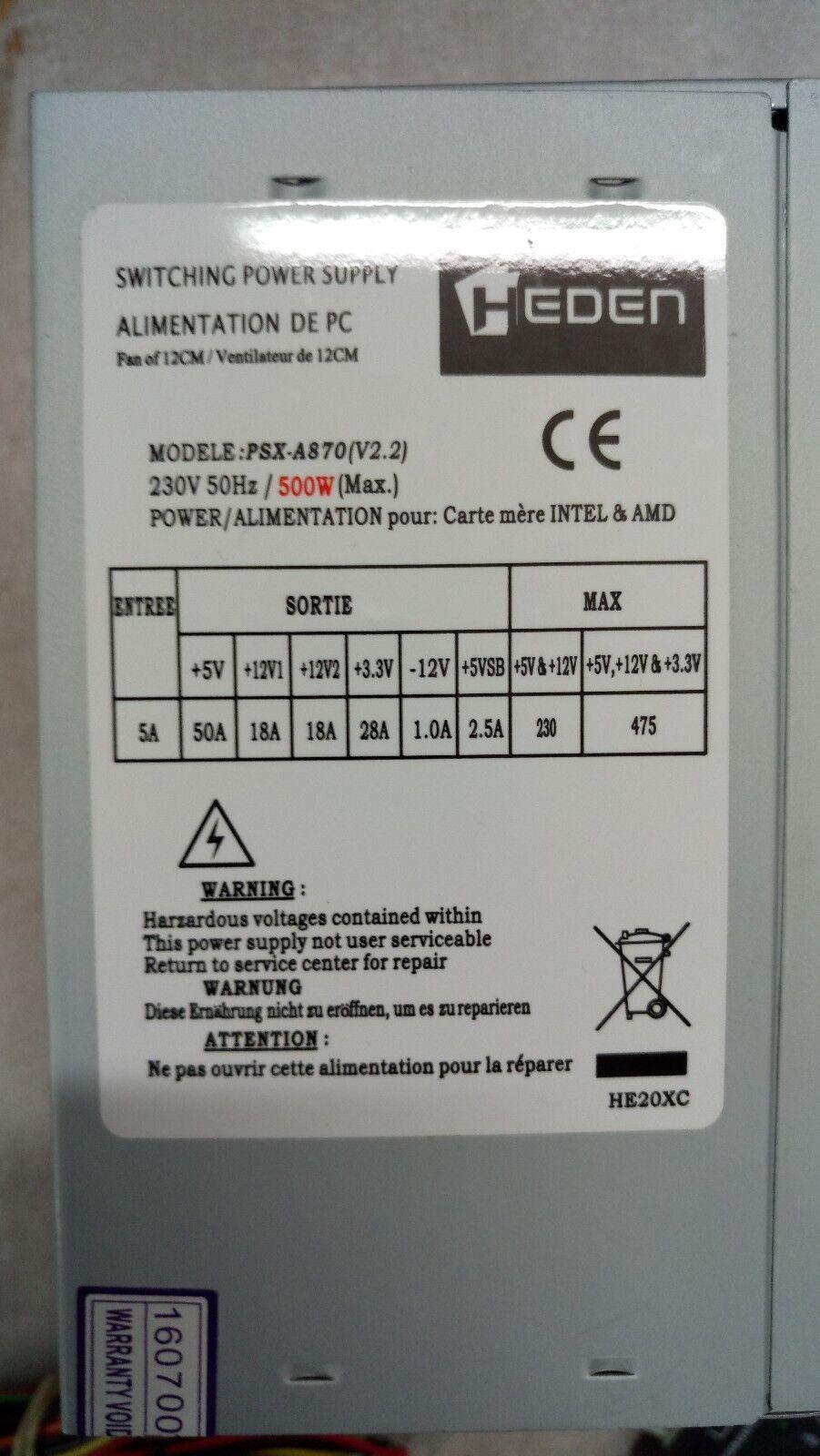 ✅alimentation pc heden psx-a870(v2.2) 500 watts (1x p4)