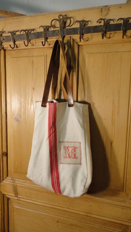 Antique European Grain Sack,Tote Bag, Book Bag,Ipad Bag,Purse.#6487