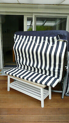 Strandkorb Sitzauflage +  Hülle,  blau/weiß gestreift  Stoff neuwertig! gebraucht kaufen  Detmold