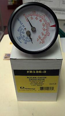 Boiler Gauge Tridicator 70-320 F 0-75 Psi 14 Cbm Mount 1-34 Shank