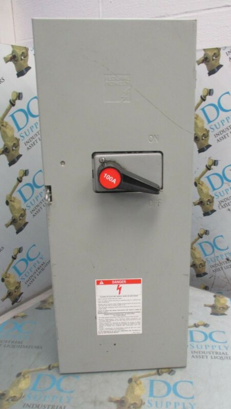 FEDERAL PIONEER 1136 SERIES W98 100 A 600 VAC 250 VDC 75 HP DISCONNECT SWITCH