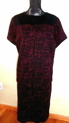 Liz Claiborne Collection Short Sleeve Top 2X-Skirt 1X-wine-black-new with tags