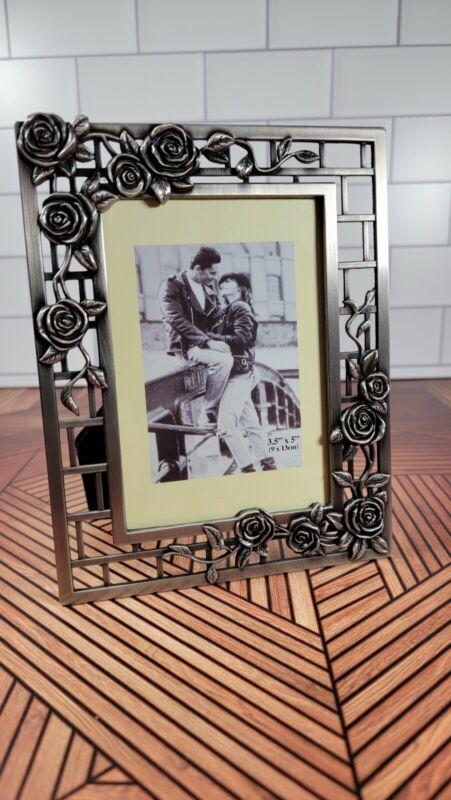 3.5x5 Rose Style Antique Pewter Finish Photo Frame Tarnish Resistant