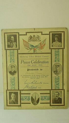 WWI certificate of Peace Celebration