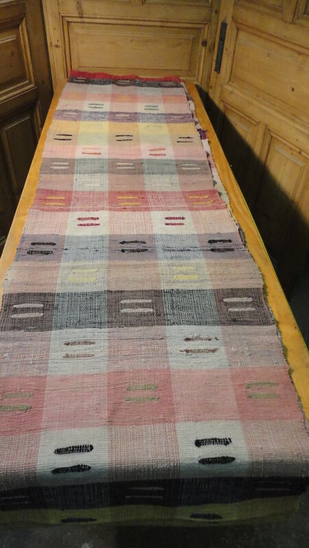 Rag Rug Vintage European Hand-Woven Carpet Rug  13
