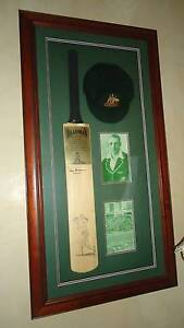 Donald Bradman signed bat with baggy green and memorabilia Ryde Ryde Area Preview