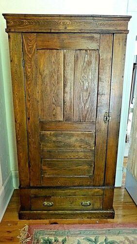 Victorian Antique single door & drawer Cupboard pantry wardrobe cabinet closet