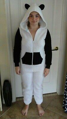 MINT Adult Small OR Child XL PANDA BEAR HOODED 1-PIECE PJ/COSTUME - POLYESTER C2](Panda Bear Costume Kids)