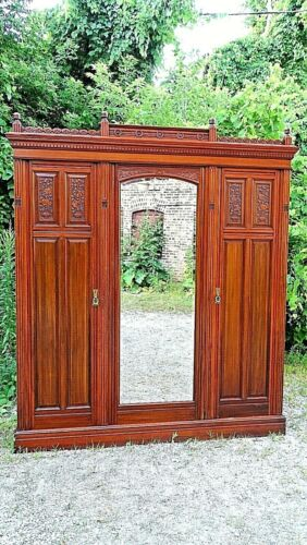 Victorian Antique Eastlake aesthetic Walnut Triple door Armoire wardrobe cabinet