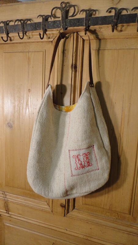 Antique European Grain Sack,Tote Bag, Book Bag,Ipad Bag,Purse.#6509