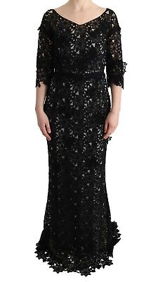 NEW $6600 DOLCE & GABBANA Dress Black Cotton Silk Floral Long Gown s. IT44/ US10