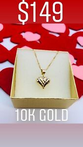 10K Gold. Necklace + Heart Pendant