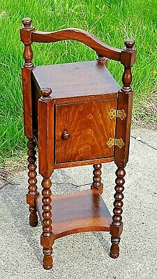 Edwardian Antique Arts & Crafts Smoke stand humidor accent table cabinet