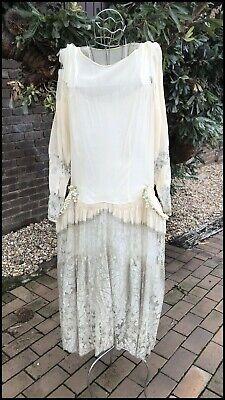 Vintage Original Authentic 1920s Art Deco Gatsby Flapper Lace Wedding Dress A/F