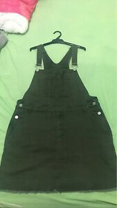 Army green overall denim dress