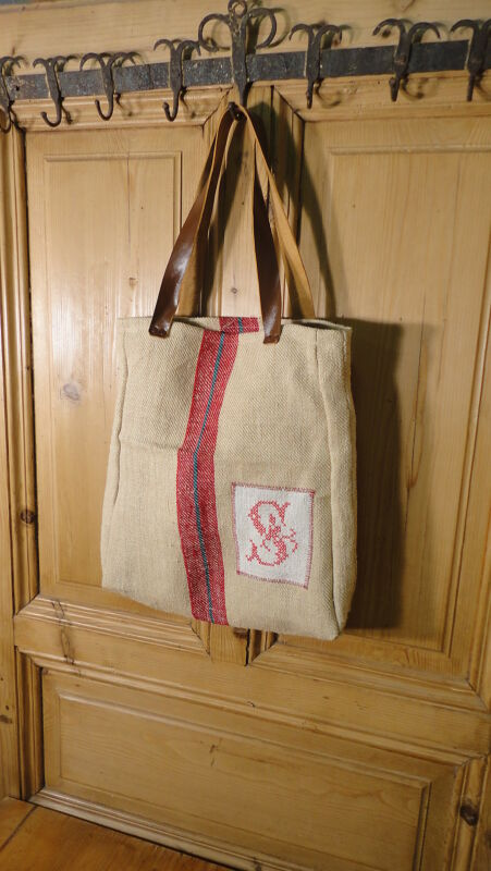 Antique European Grain Sack,Tote Bag, Book Bag,Ipad Bag,Purse.#6466