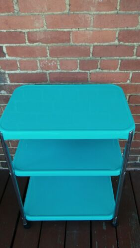 VINTAGE MID CENTURY 3 TIER COSCO SERVING CART TURQUOISE  COLOR