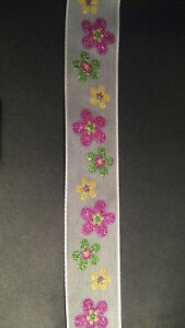 Quality-Wire-Edge-Ribbon-38mm-White-Satin-mesh-with-Sparkly-Flower-Print