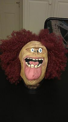 Spooky Big-Lipped Red Hair Afro Crazy Freak Freaky Creeper Halloween Mask (Big Crazy Halloween Hair)