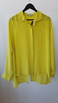 NEW DAGMAR silk lemon yellow long sleeve shirt size 40 L uk 14 us 10