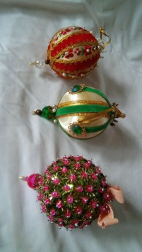 Set of 3 Beaded Ball Christmas Ornaments 1970
