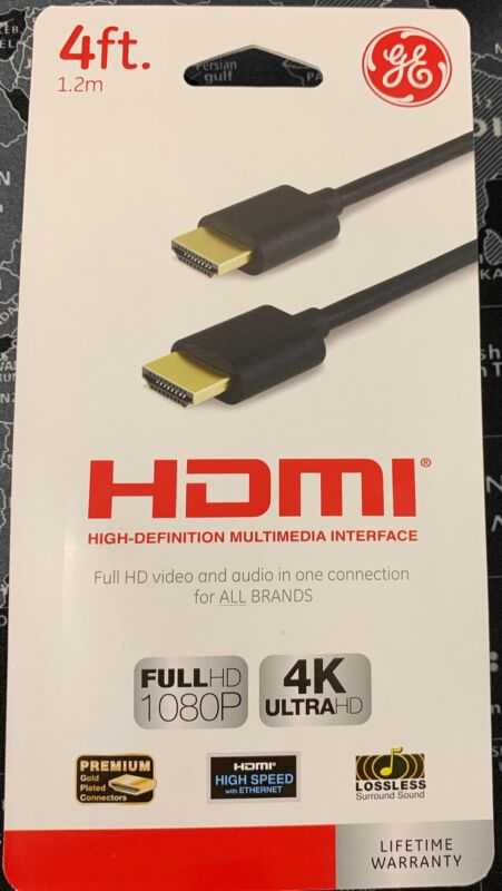 GE 4ft HDMI UltraHD 4K Full HD 1080P Cable - Gold Connectors - Ships from USA